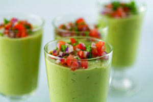 Avocado Soup With Spicy Salsa
