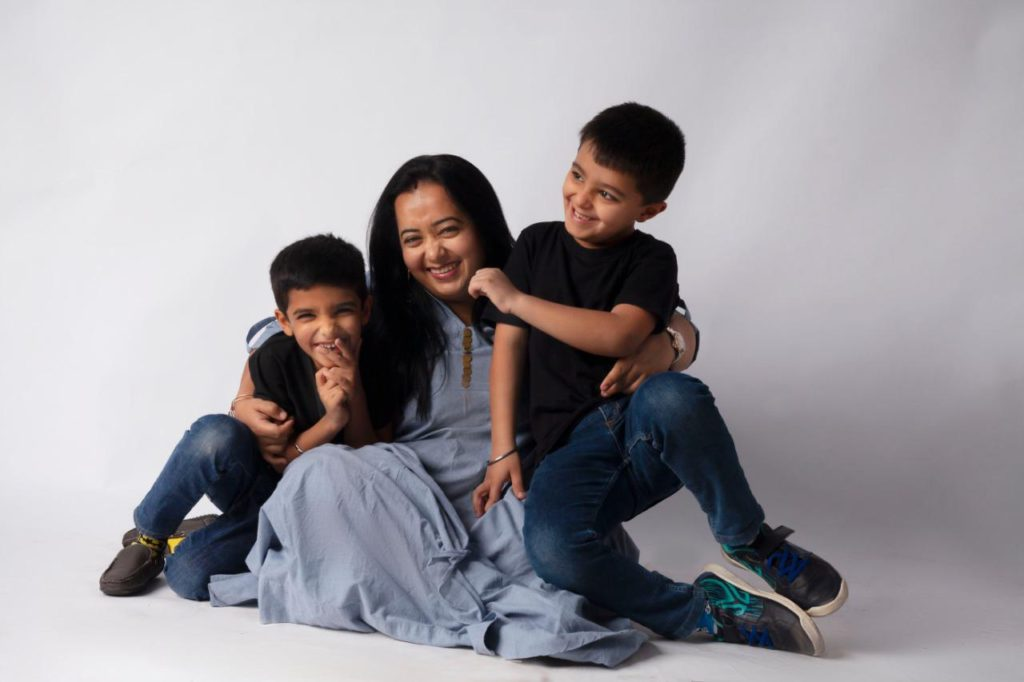 Namrata with her boys talking to us about Love After Motherhood